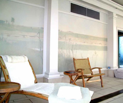 the indoor pool at the mayFlower Spa. mural by matt wood