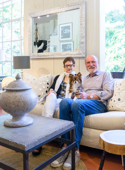 JOANNA & BILL SEITZ, WITH LOLA BEAN. PHOTOGRAPHED BY MIKE YAMIN