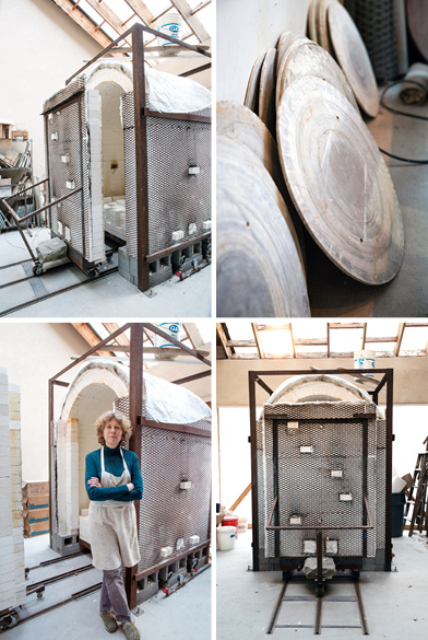 LARGE KILN AND POTTERY WHEELS IN MALLORY'S STUDIO; BLEACHER+EVERARD